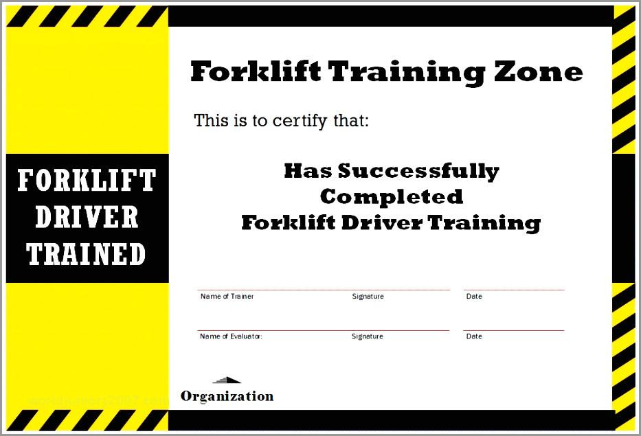 Forklift Truck Certificate Templates