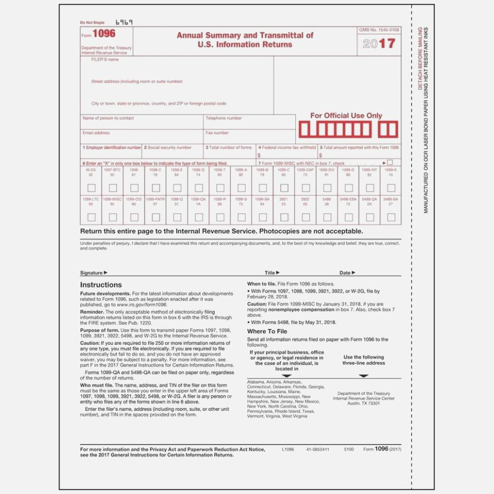 Form 1096 Excel Template
