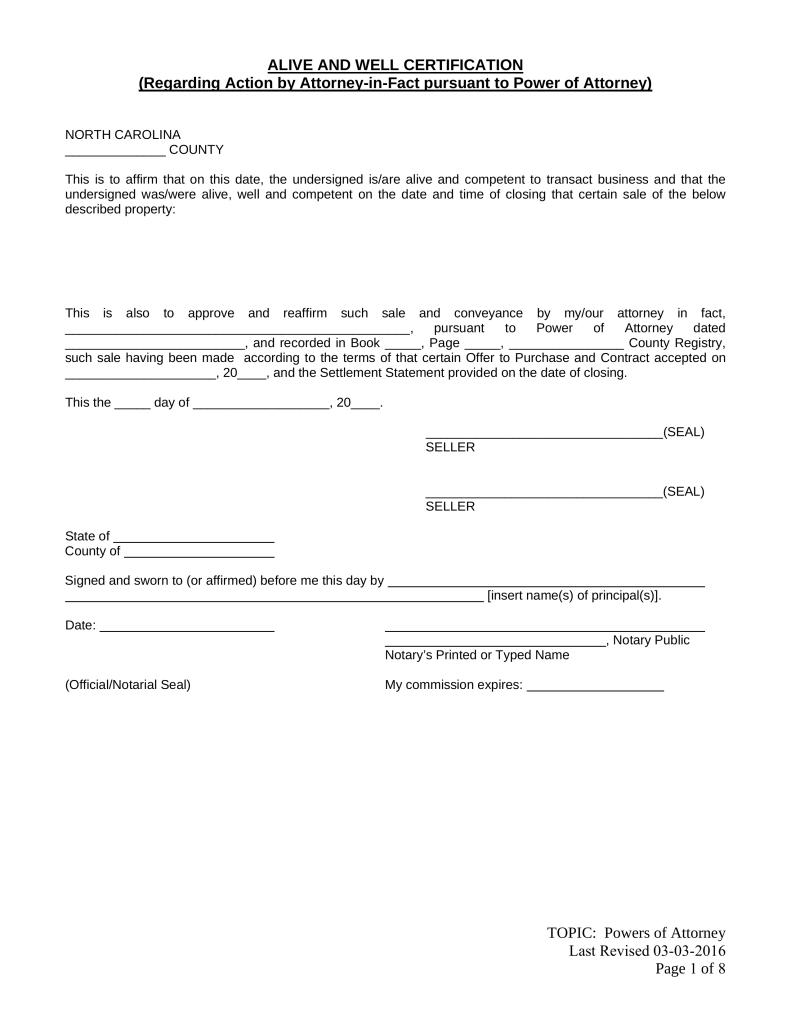 Form For Power Of Attorney In North Carolina