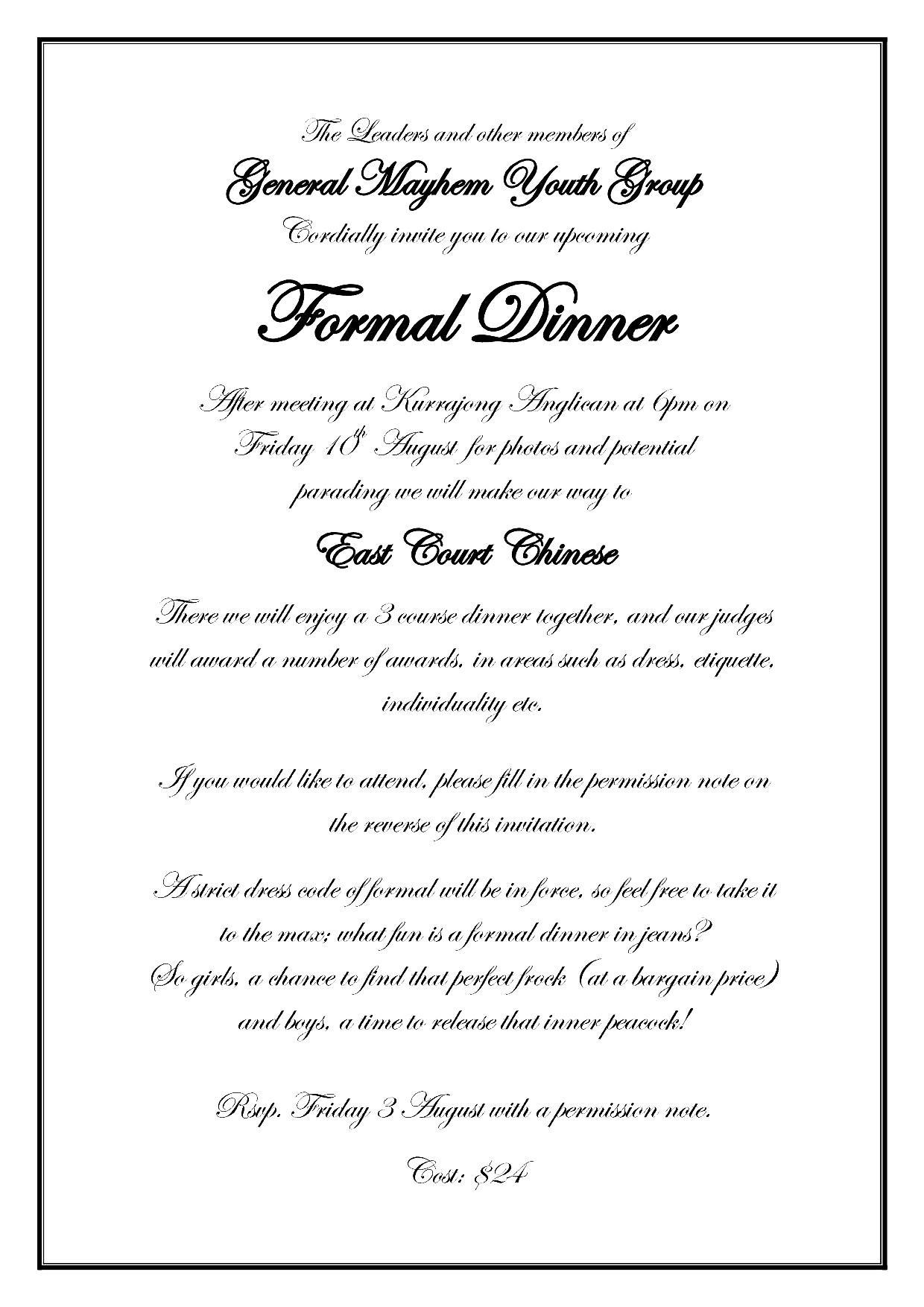 Formal Dinner Invitation Card Sample