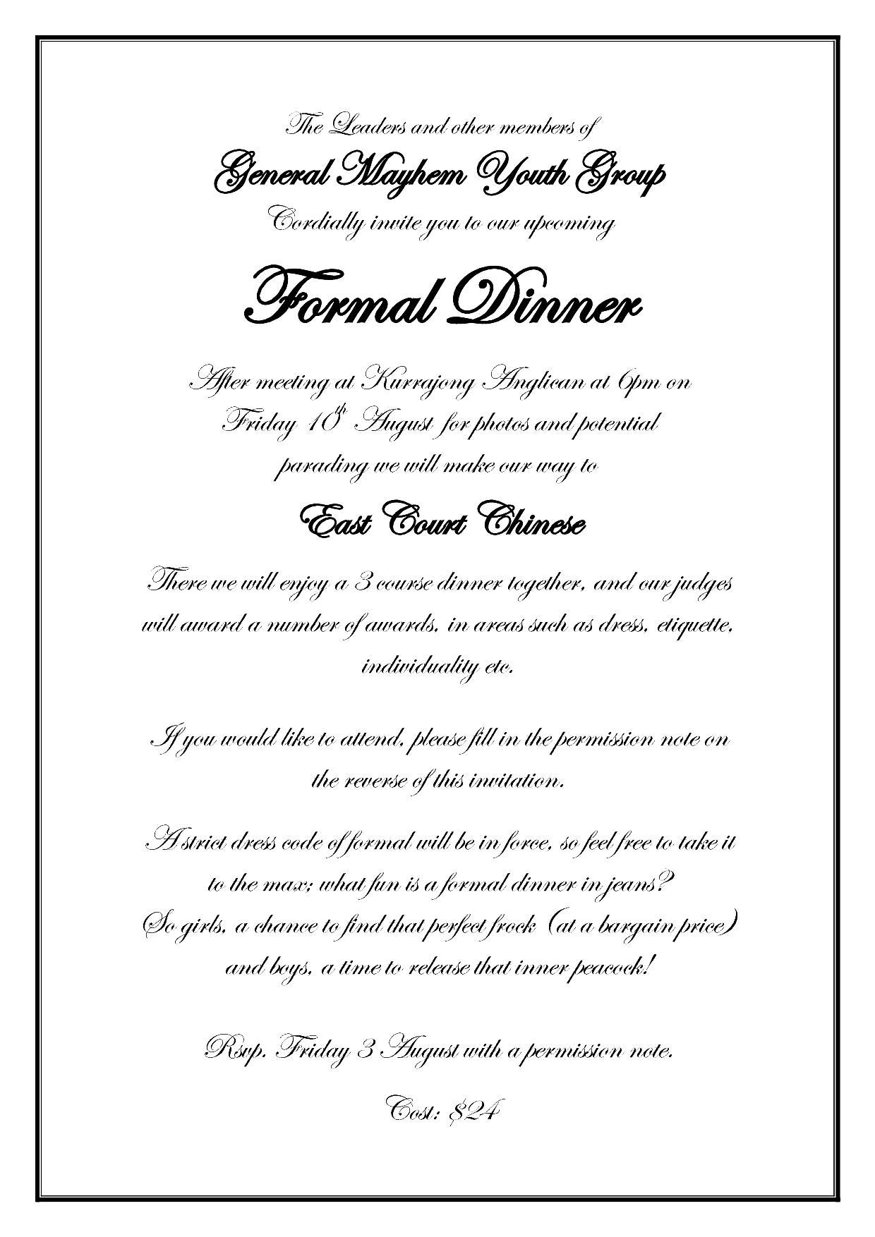 Formal Invitation Template For Dinner