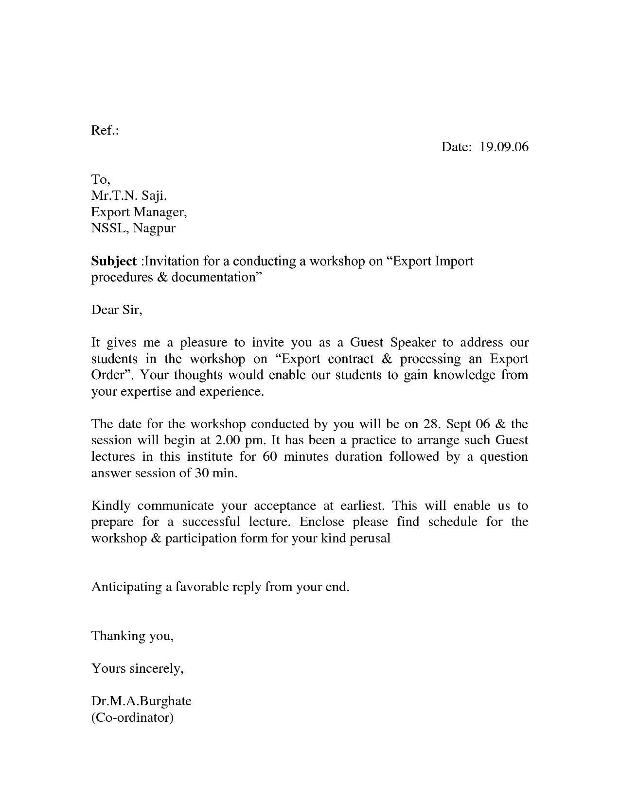 Formal Invitation Template Letter