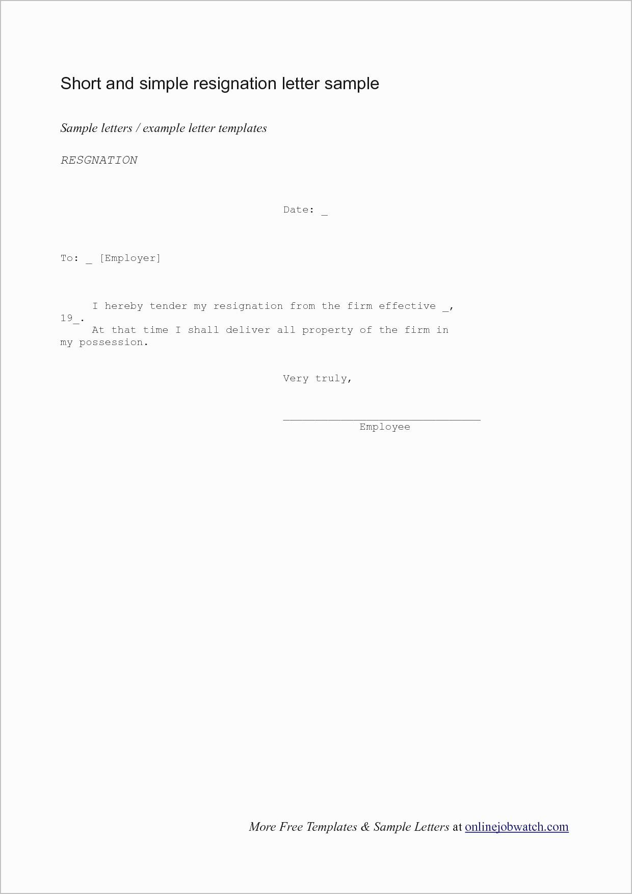Formal Resignation Letter Template