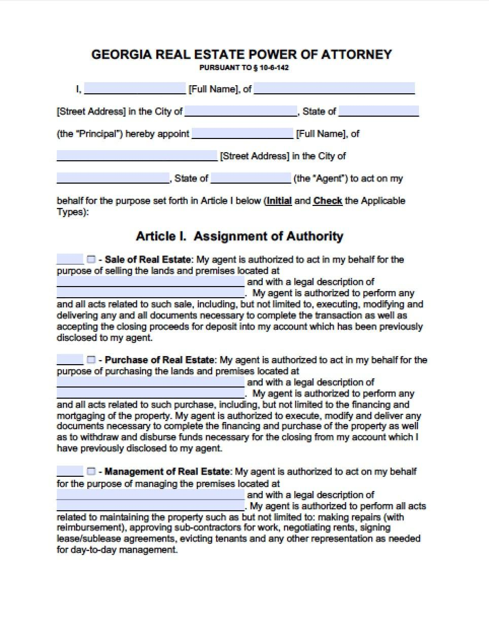 Forms For Power Of Attorney In Georgia