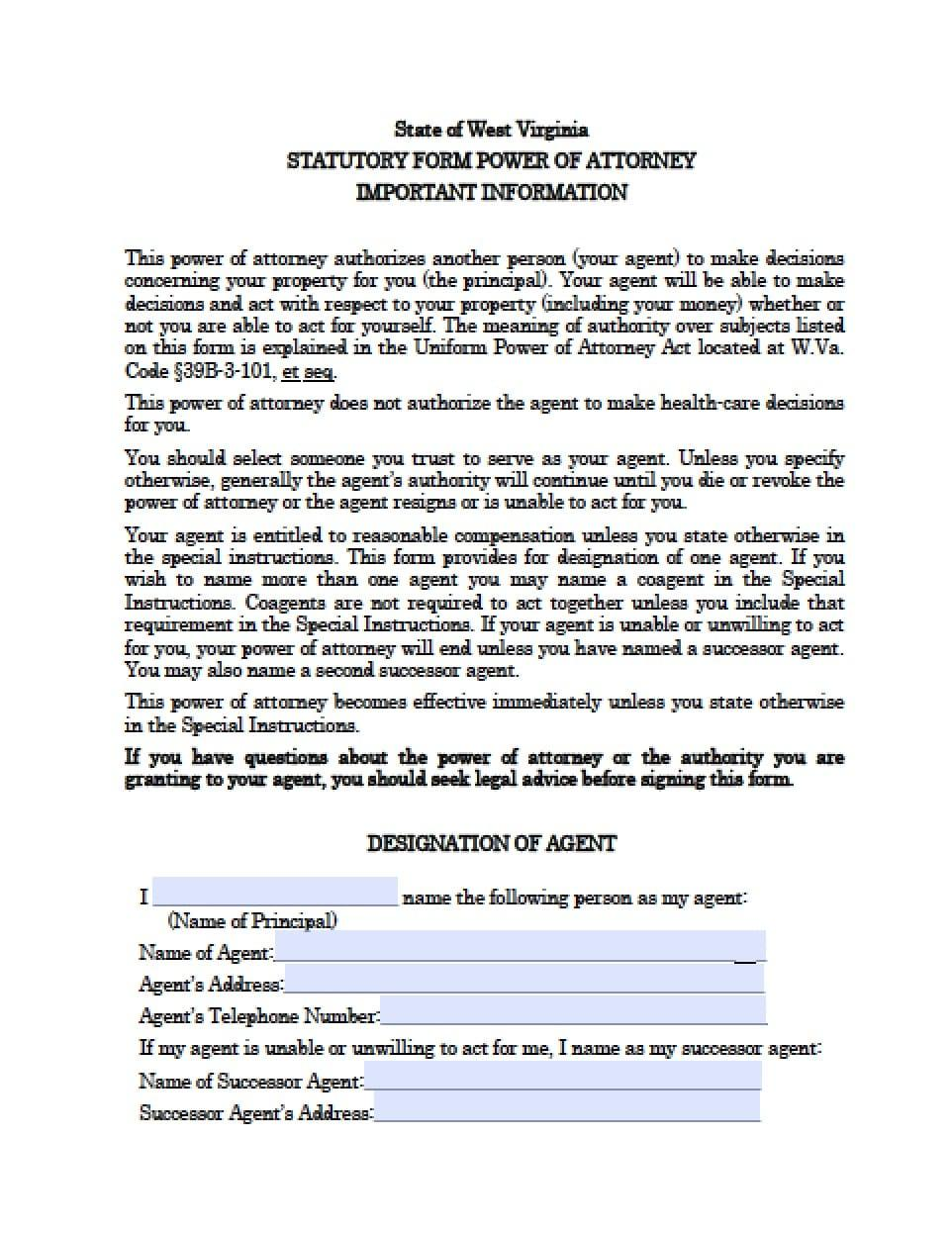 Forms For Power Of Attorney In Virginia