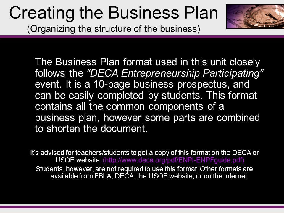Franchise Business Plan Example Deca