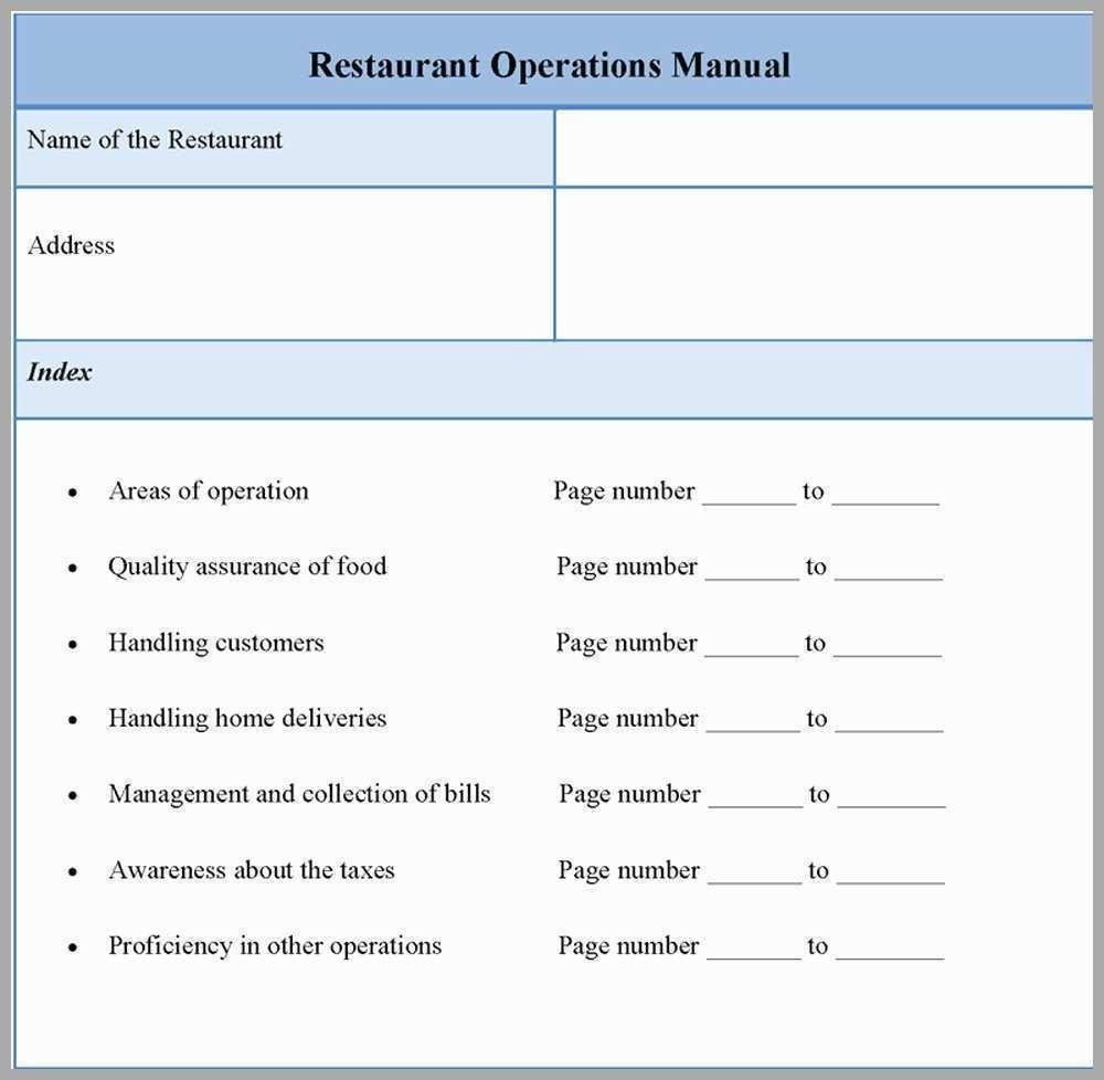 Franchise Operation Manual Template