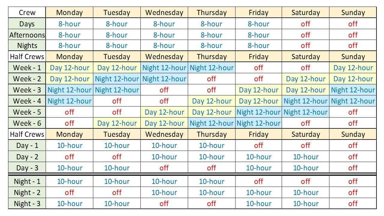 Free 24 7 Shift Schedule Template