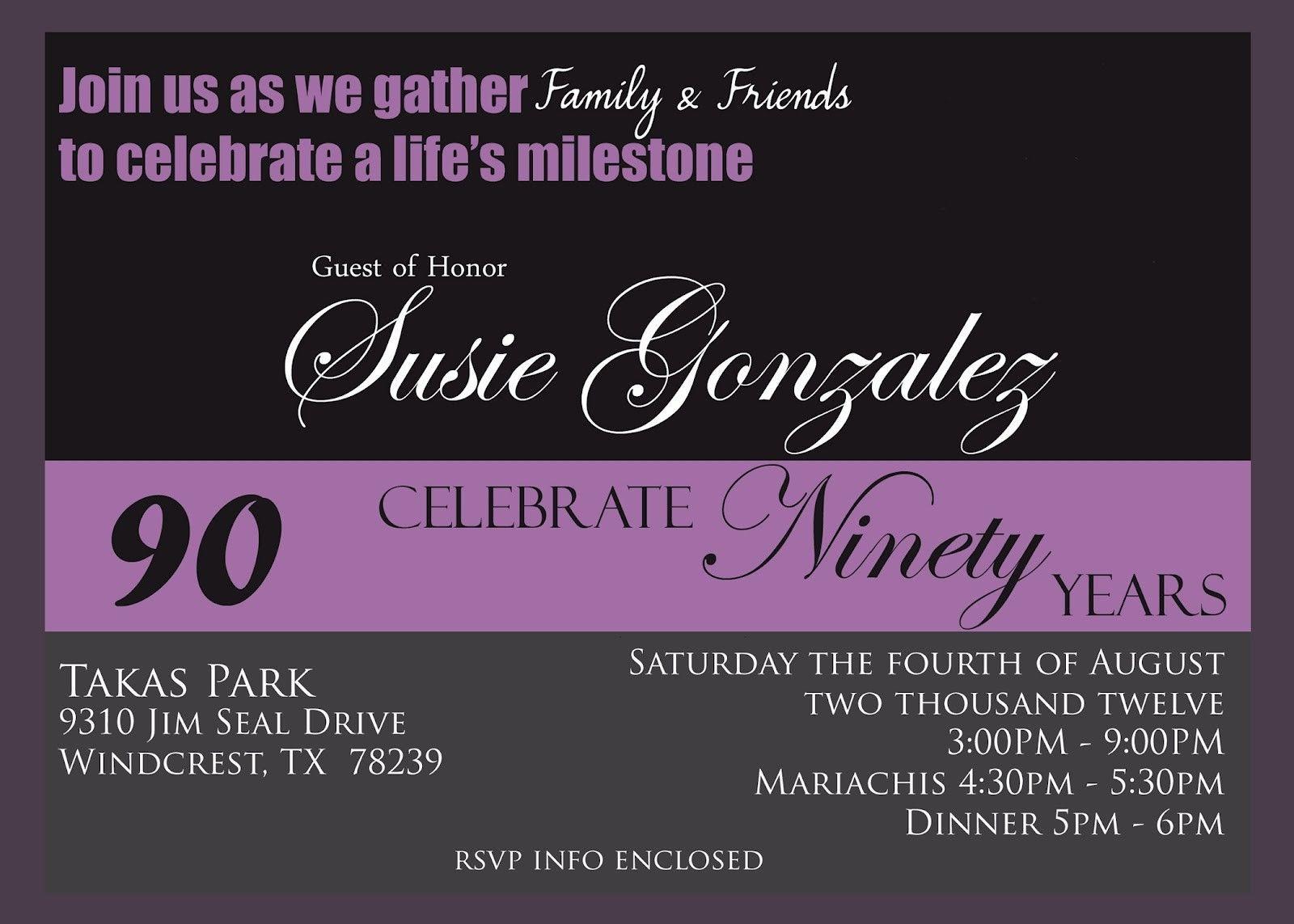 Free 90th Birthday Invitation Templates