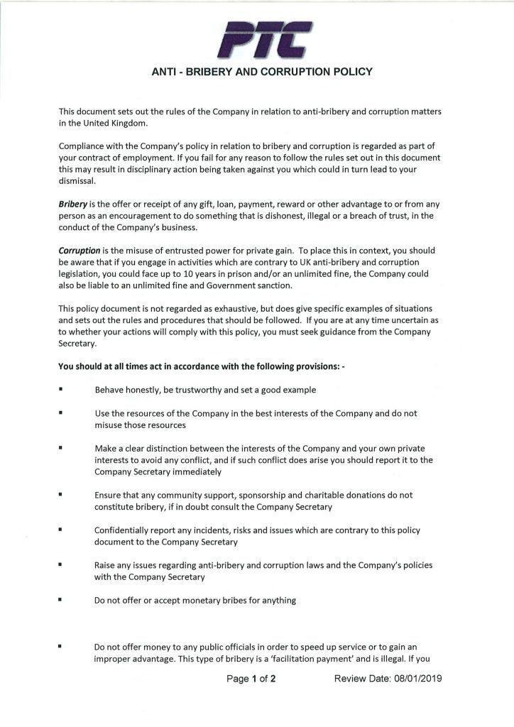Free Anti Bribery And Corruption Policy Template Australia