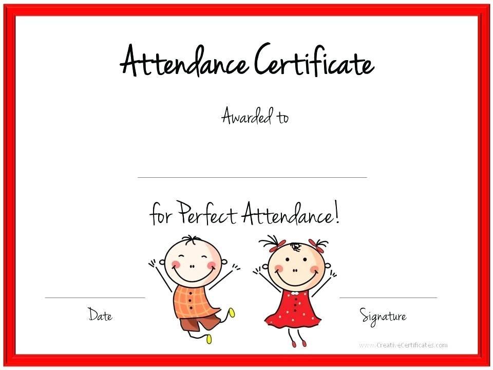 Free Attendance Award Certificate Template