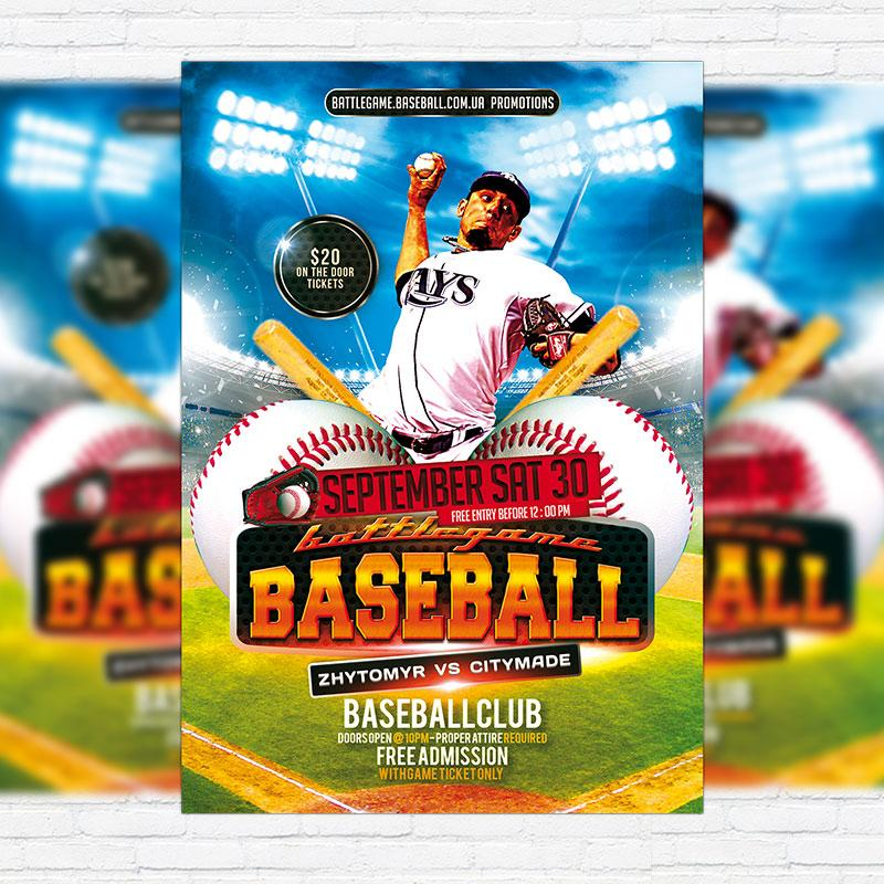 Free Baseball Flyer Template Psd