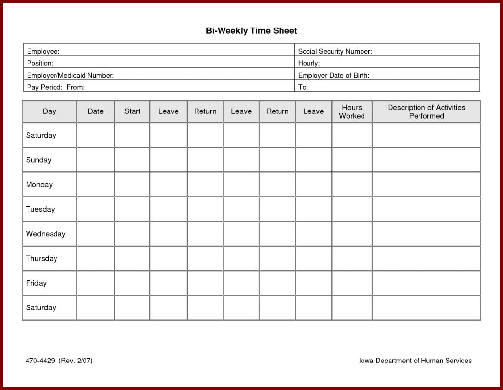 Free Bi Weekly Employee Timesheet Template