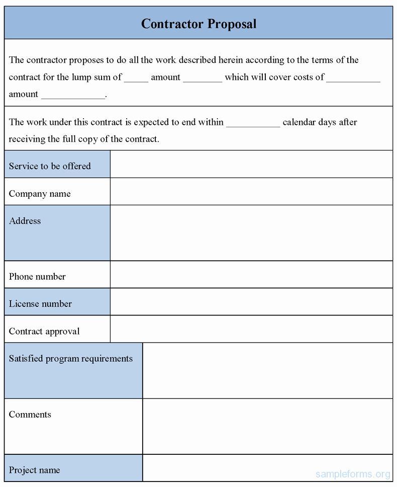 Free Bid Proposal Form