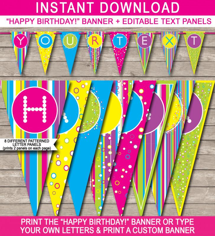 Free Birthday Banner Template Printable
