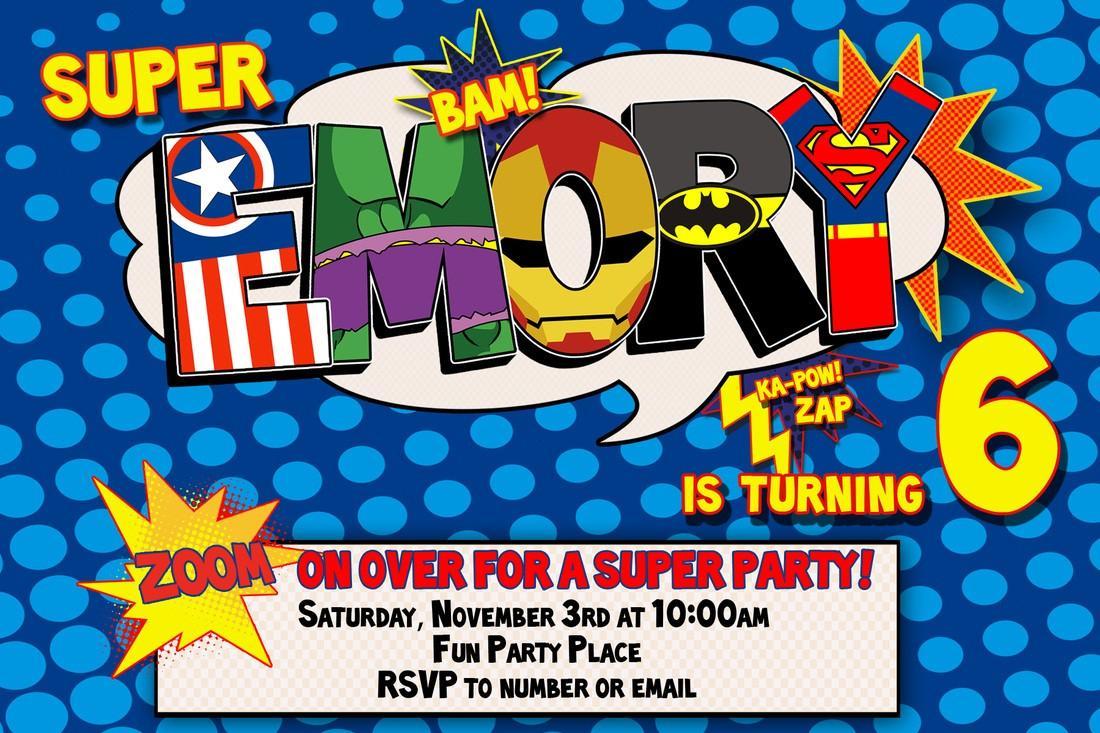 Free Birthday Invitation Templates Superhero