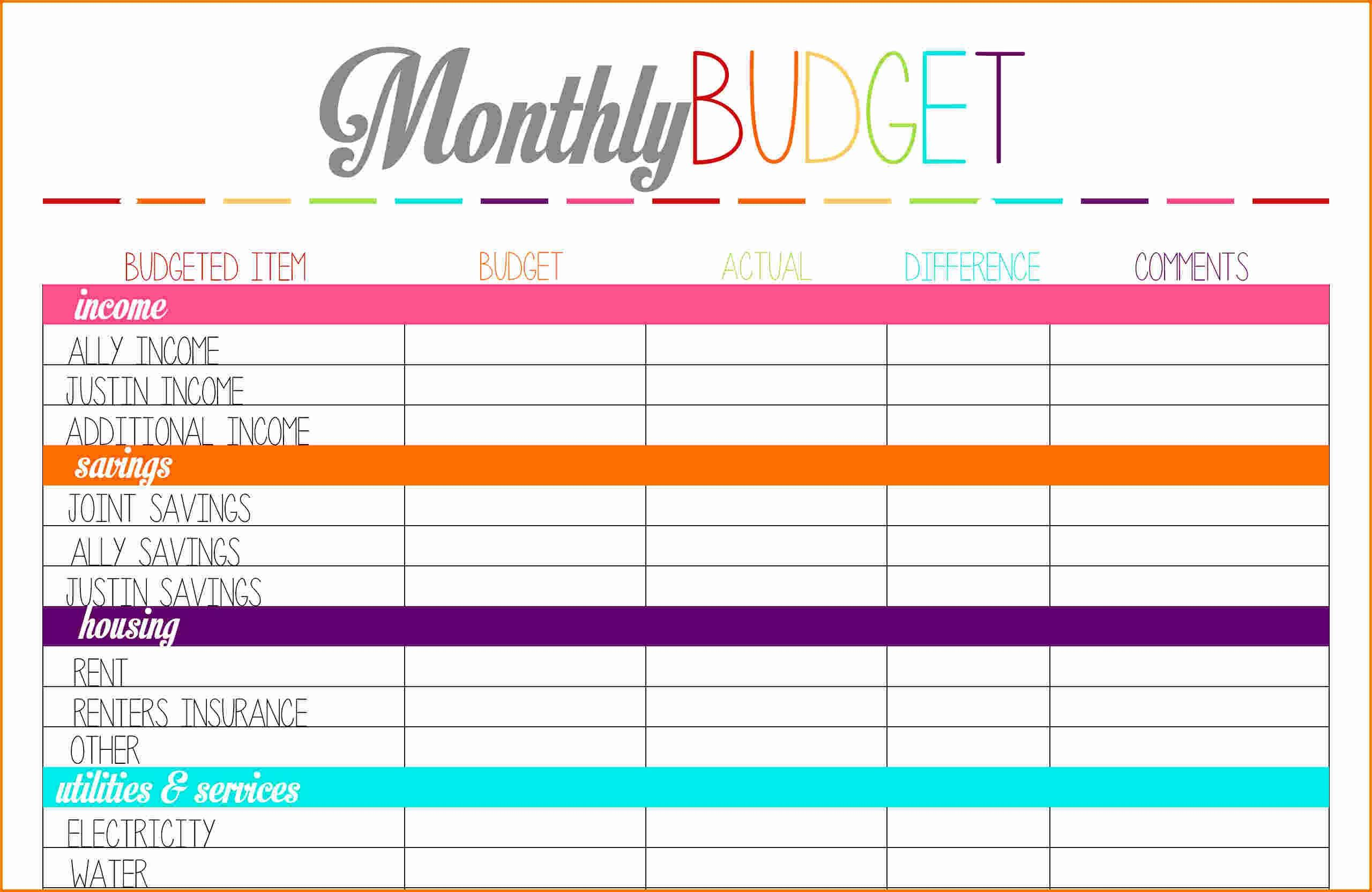 Free Blank Budget Worksheet Printable