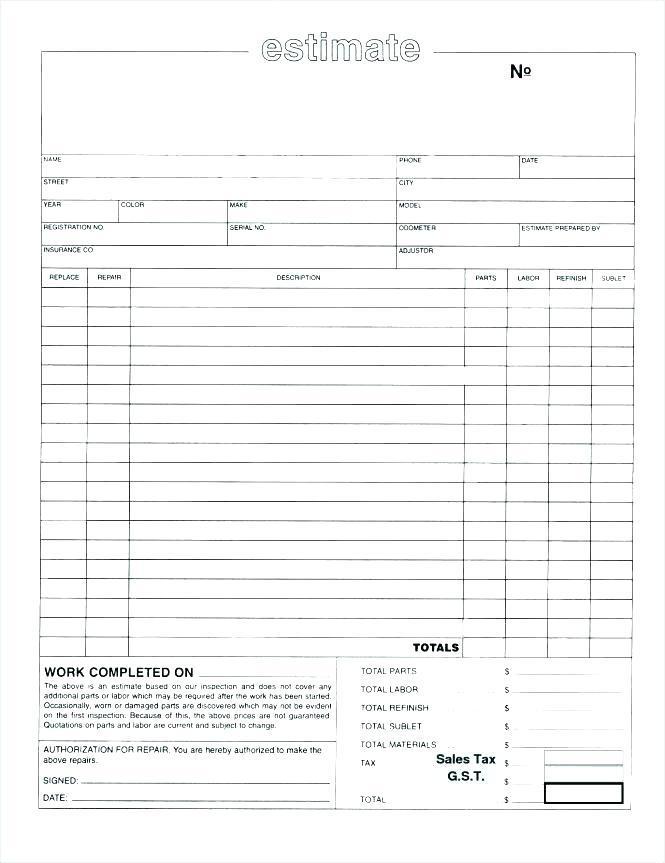 Free Blank Estimate Form Template