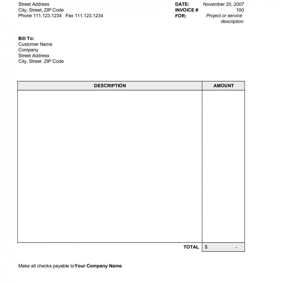 Free Blank Invoice Template Excel