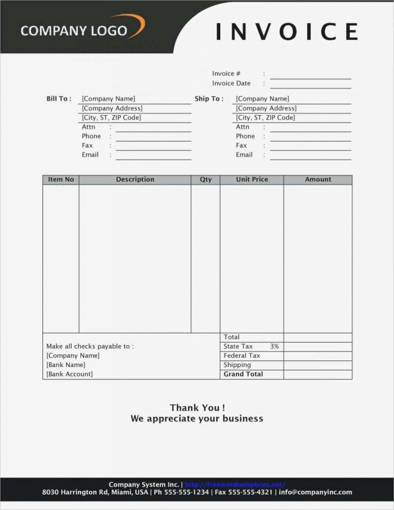 Free Blank Invoice Templates Microsoft Word