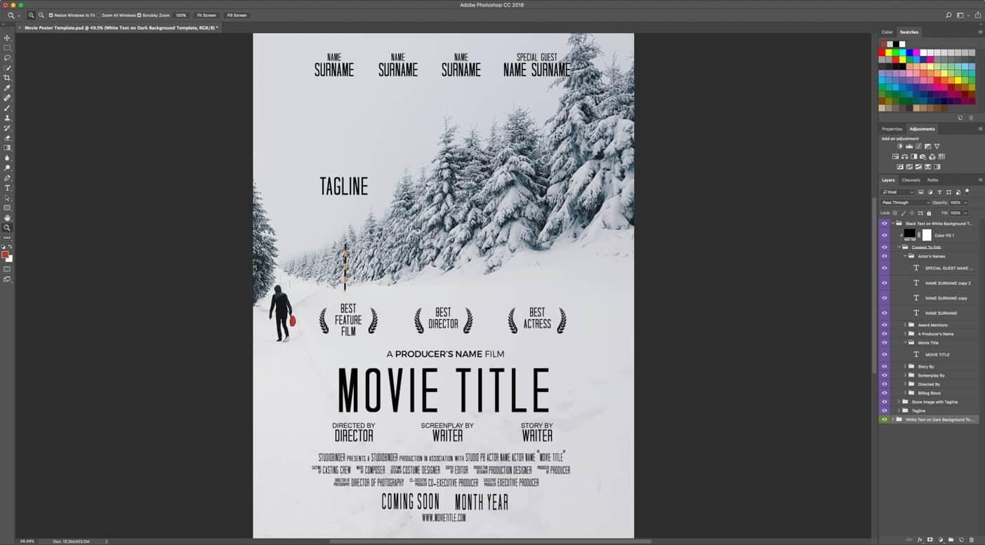 Free Blank Movie Poster Template