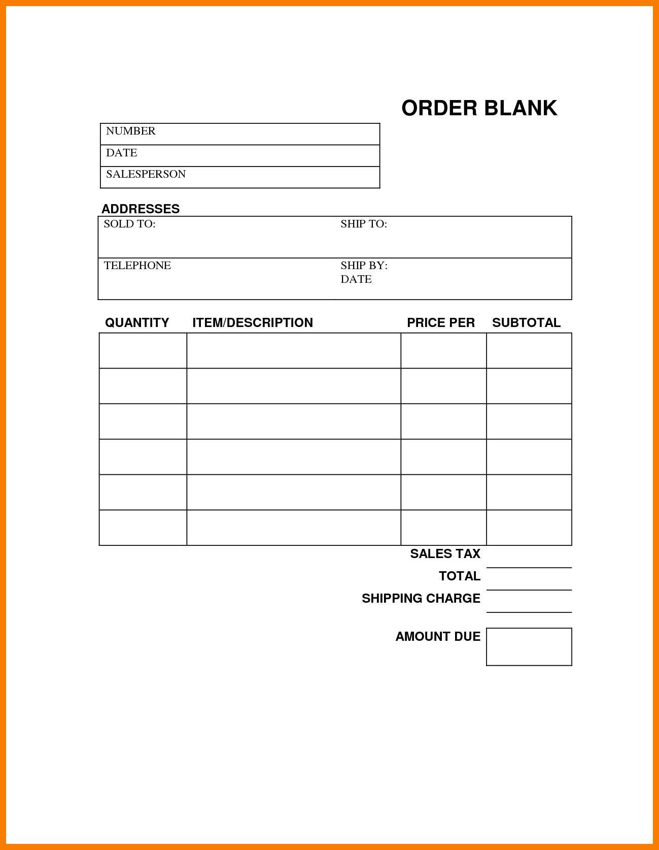 Free Blank Printable Work Order Template