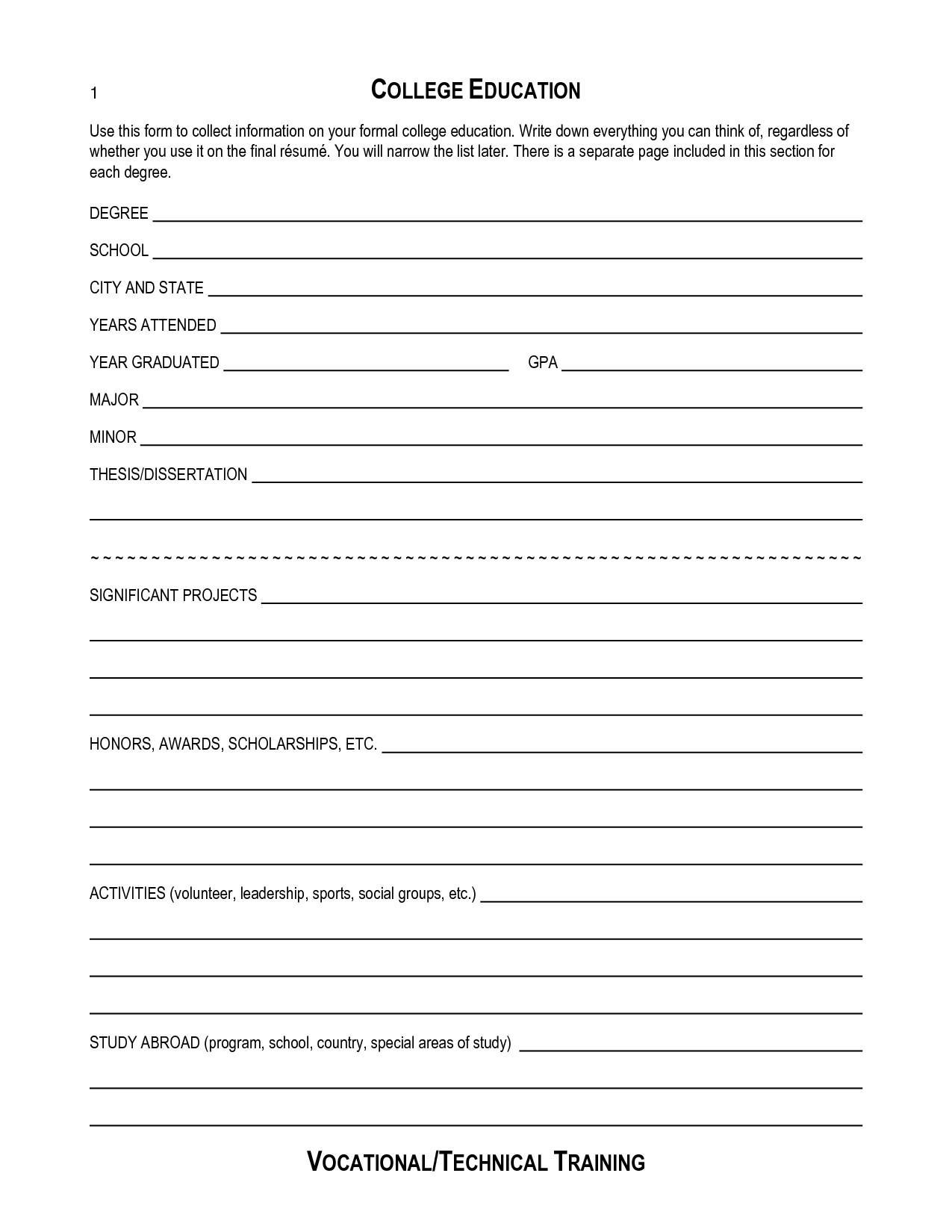 Free Blank Resume Templates To Print