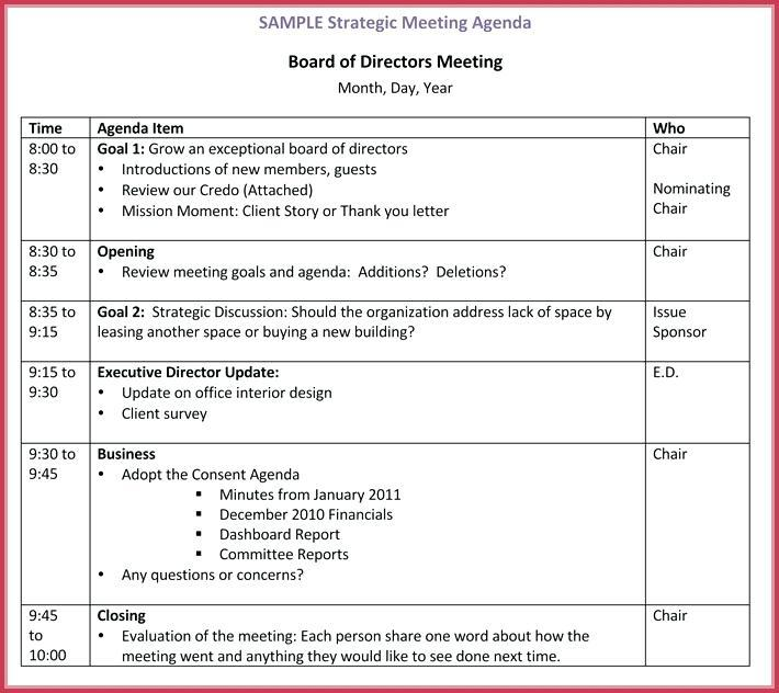 Free Board Of Directors Meeting Agenda Template