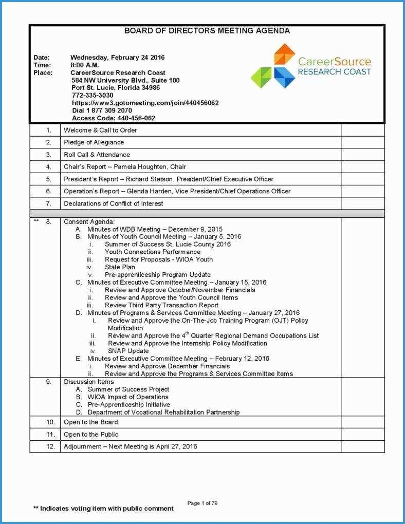 Free Board Of Directors Minutes Template