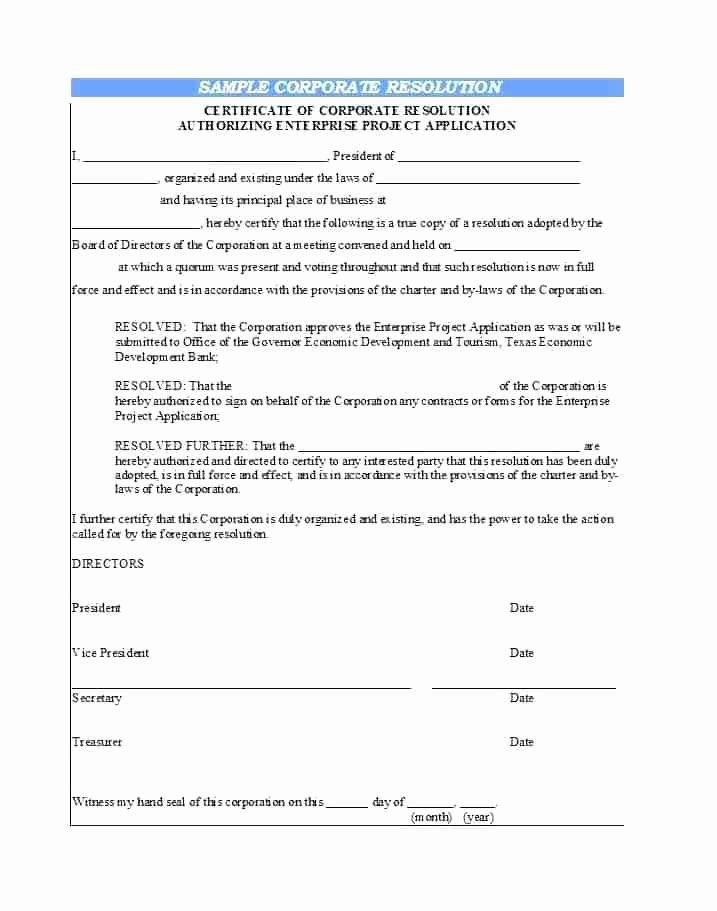 Free Board Of Directors Resolution Template