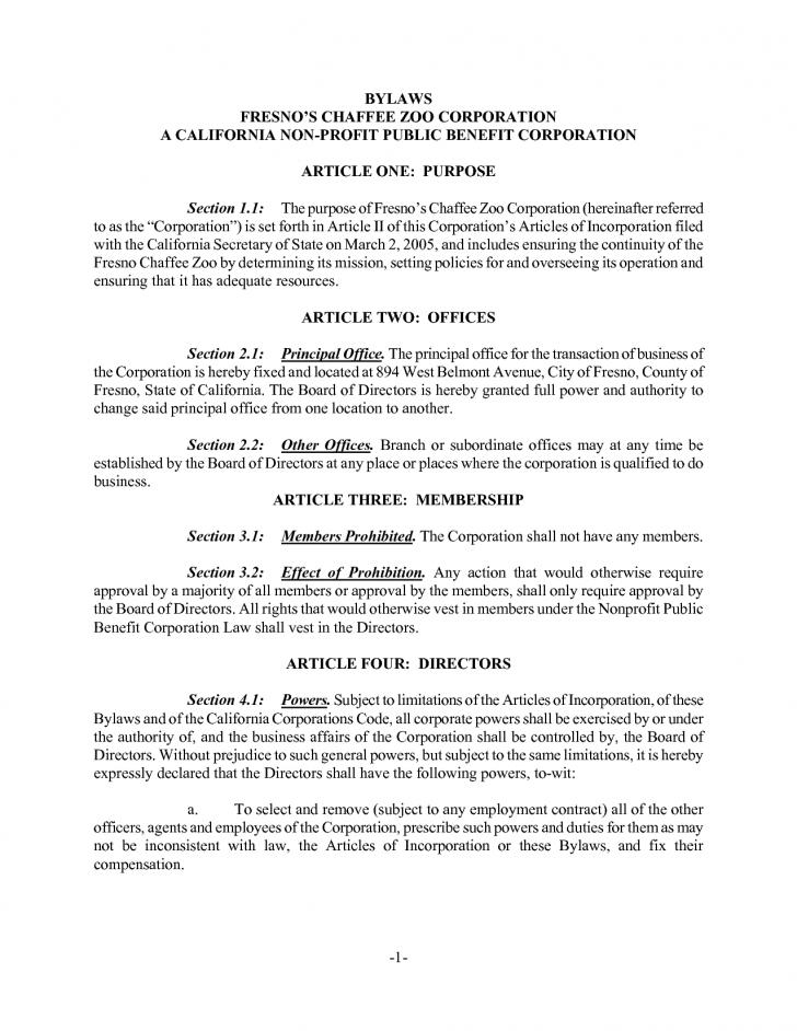 Free Bylaws Template For Nonprofit