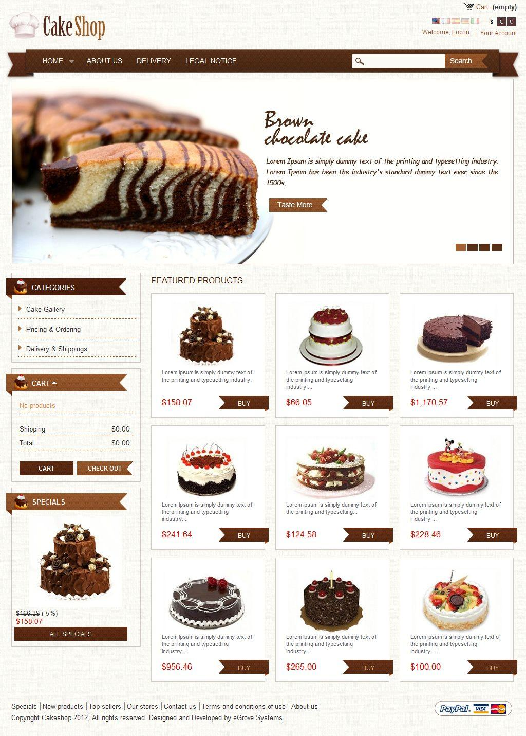 Free Cake Shop Website Template