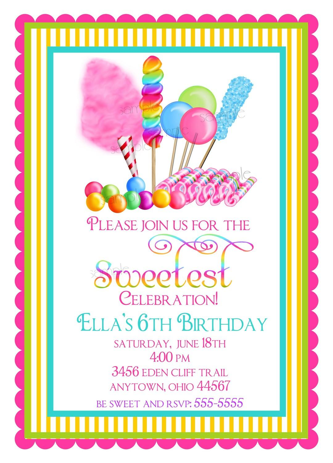 Free Candyland Party Invitation Template