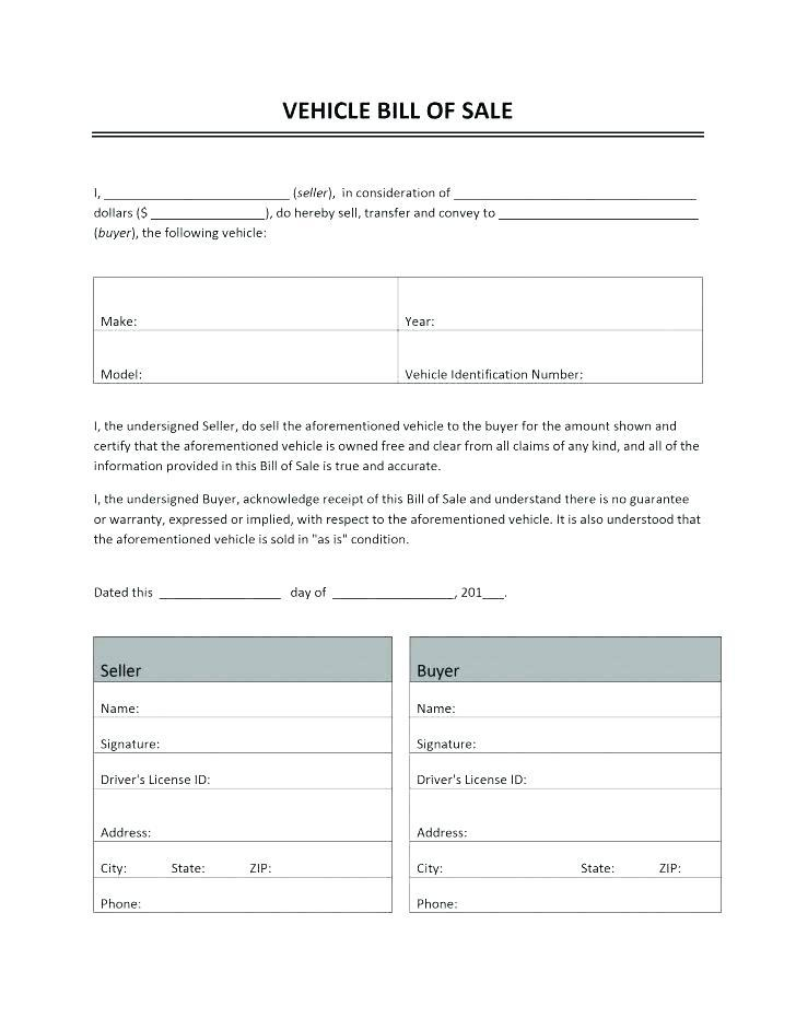 Free Car Bill Of Sale Template Word