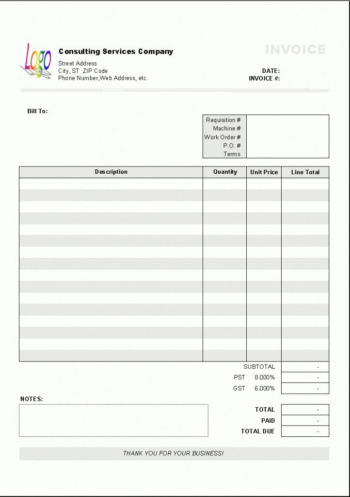 Free Cash Invoice Template Excel