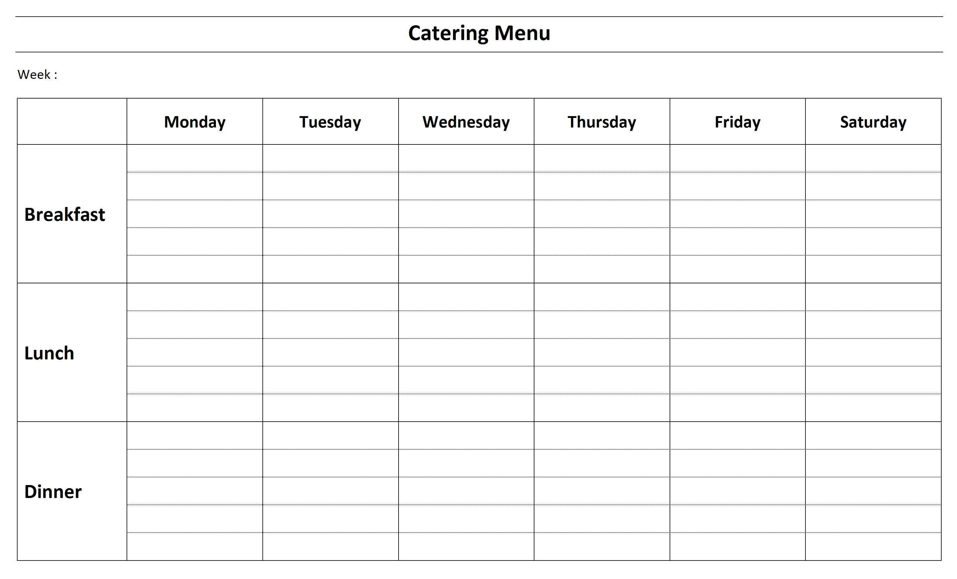 Free Catering Menu Template Word