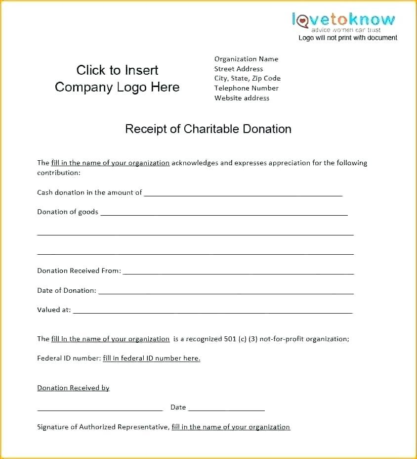 Free Charitable Donation Receipt Form