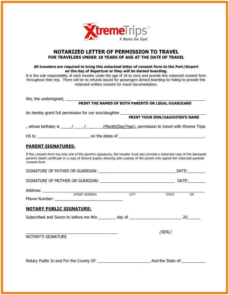 Free Child Travel Consent Form Template Word