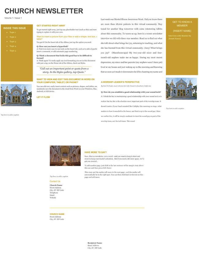 Free Children's Church Newsletter Templates
