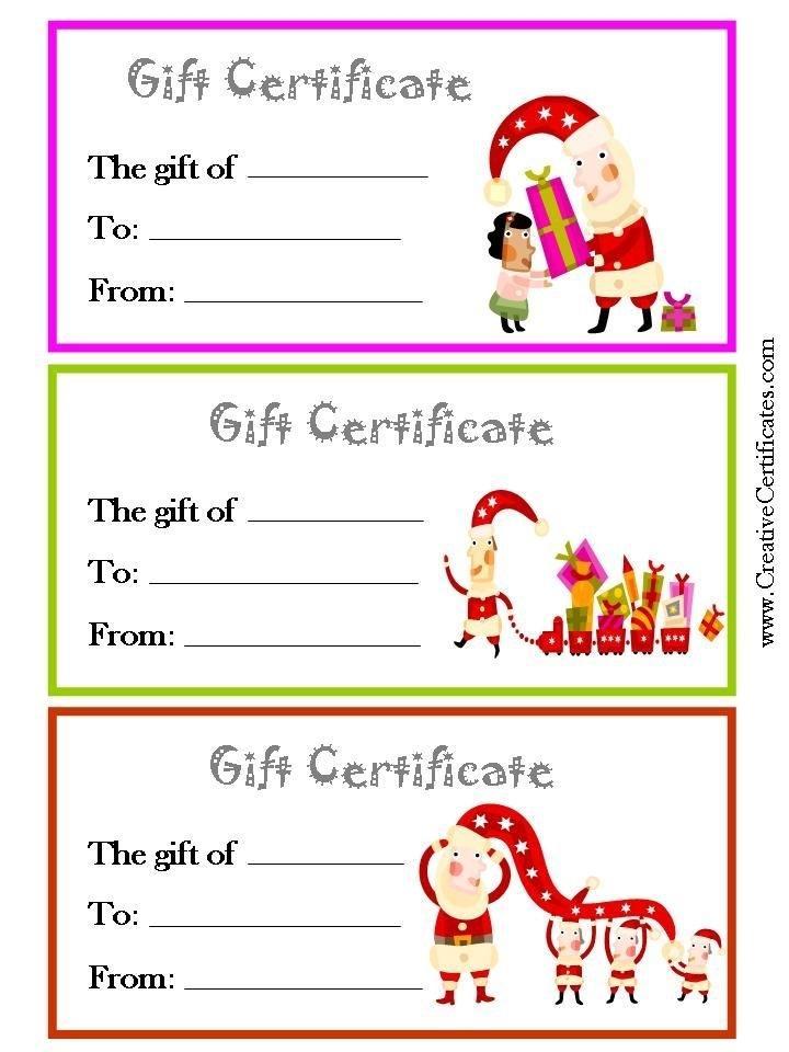 Free Christmas Gift Certificate Printable