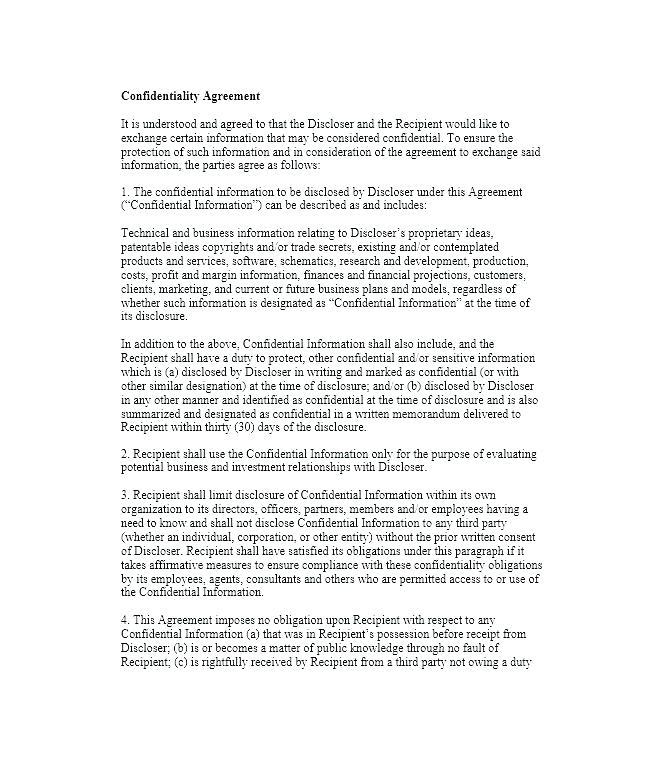 Free Client Confidentiality Agreement Template
