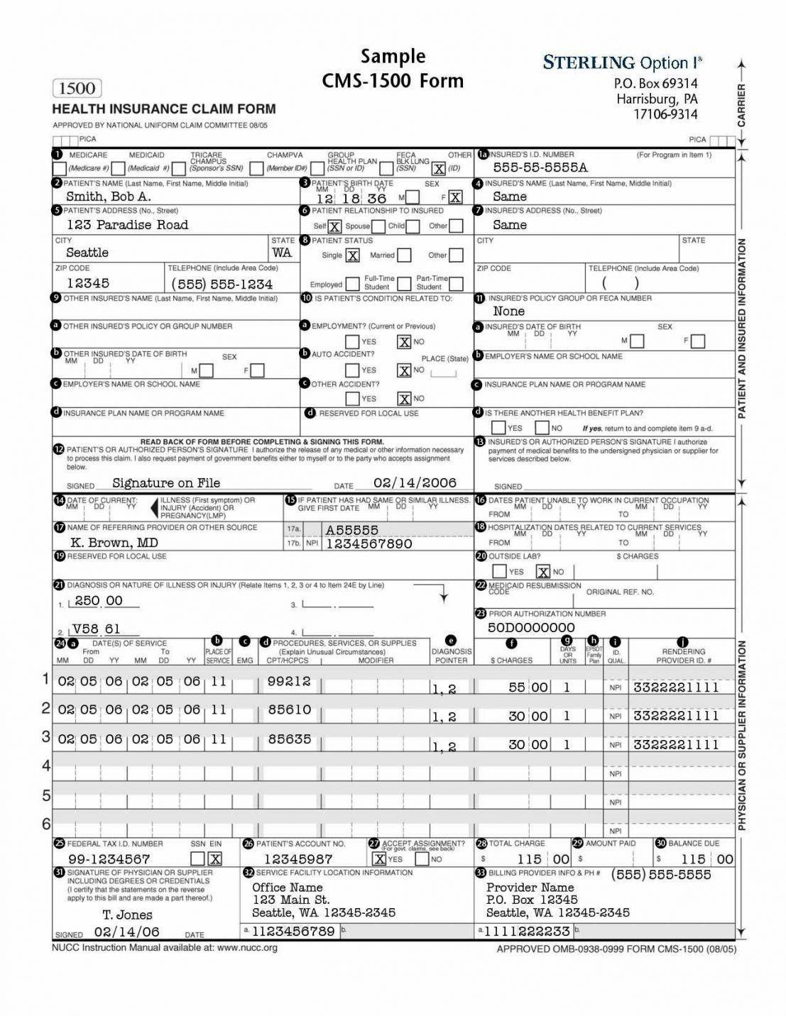 Free Cms 1500 Claim Form Template