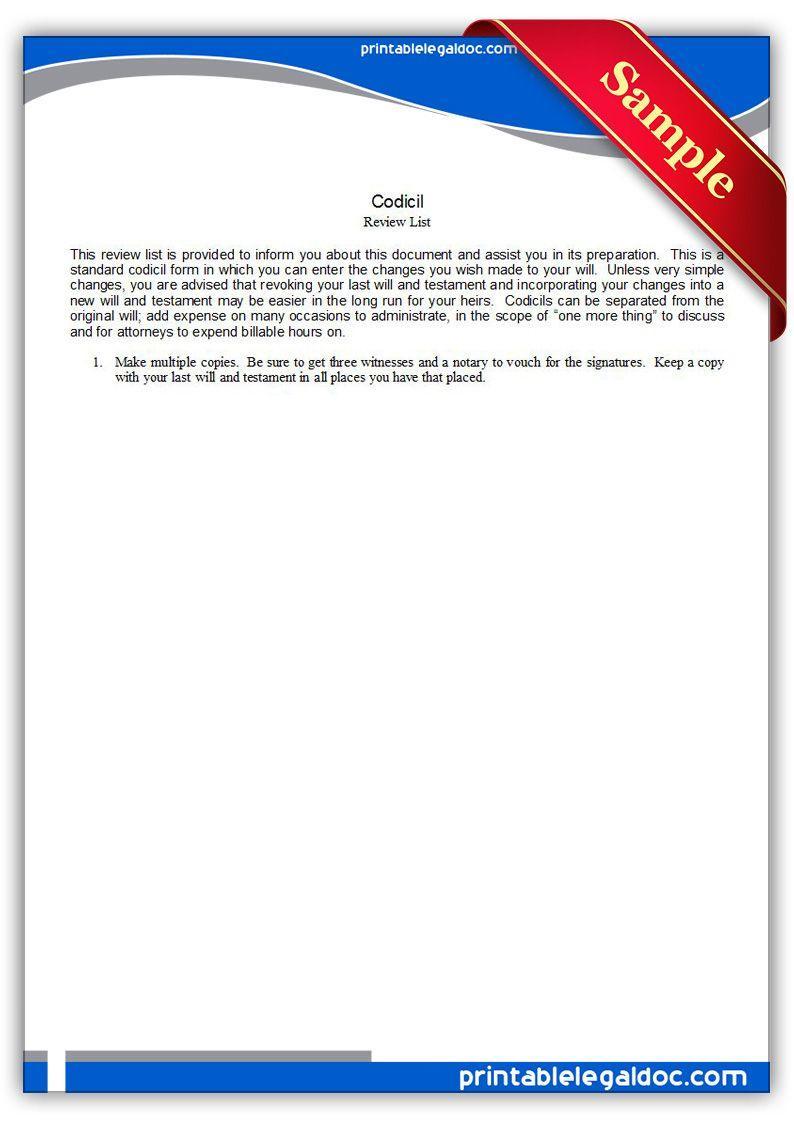 Free Codicil Forms Canada