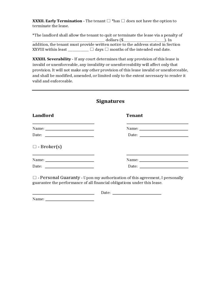 Free Commercial Lease Agreement Forms Download