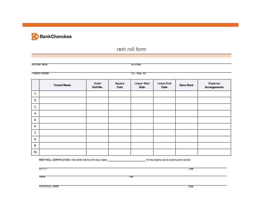 Free Commercial Rent Roll Template Excel