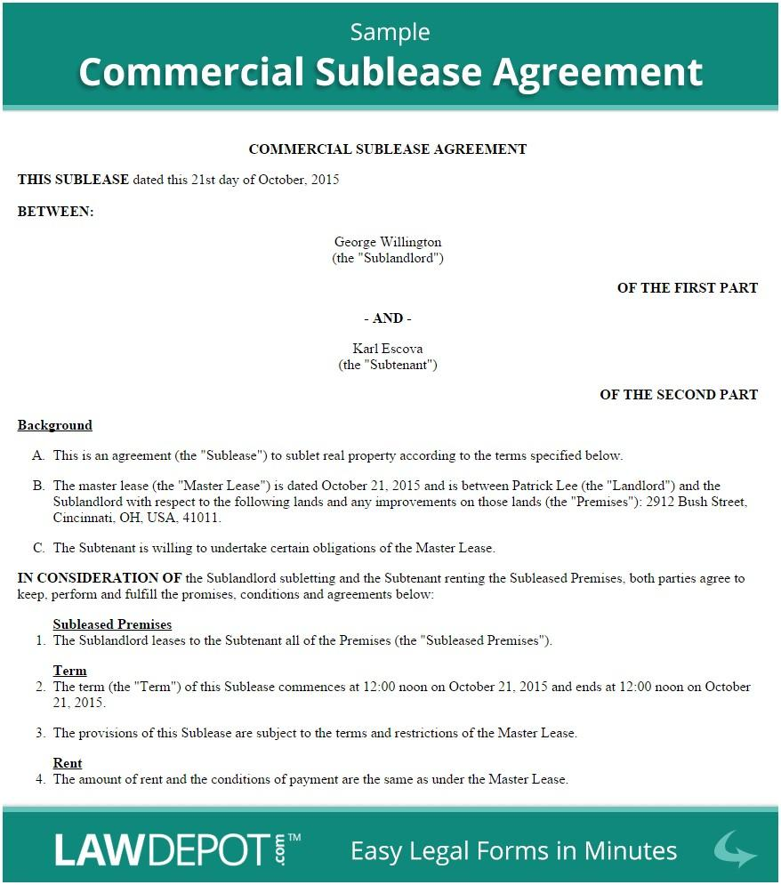 Free Commercial Sublease Agreement Template