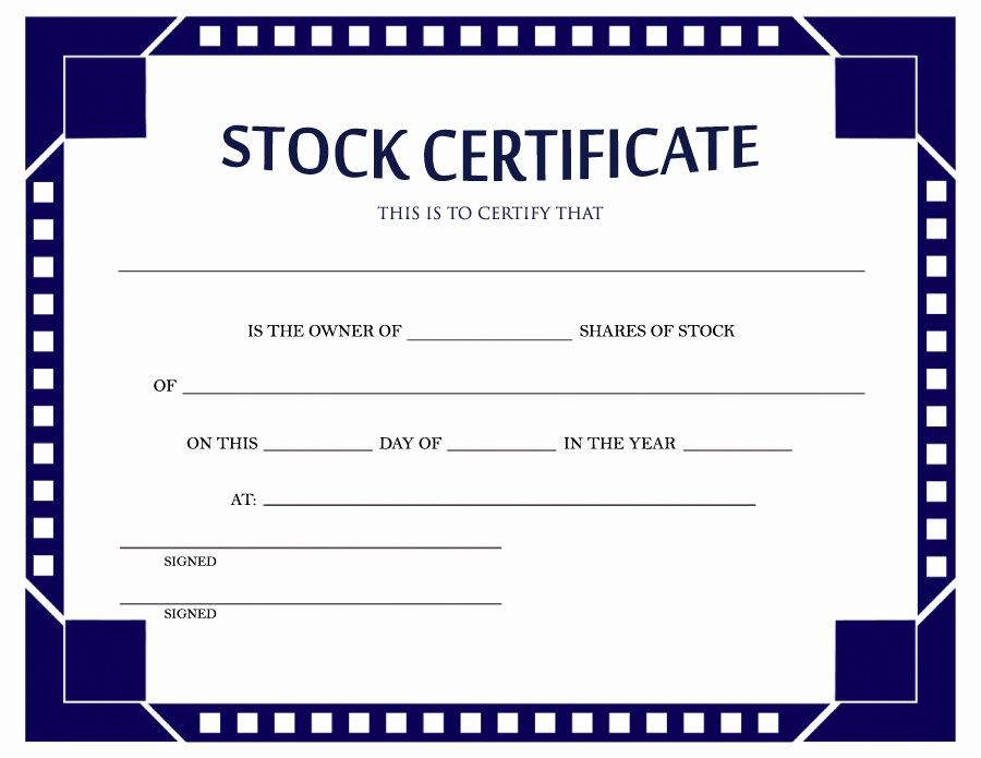 Free Common Stock Certificate Template