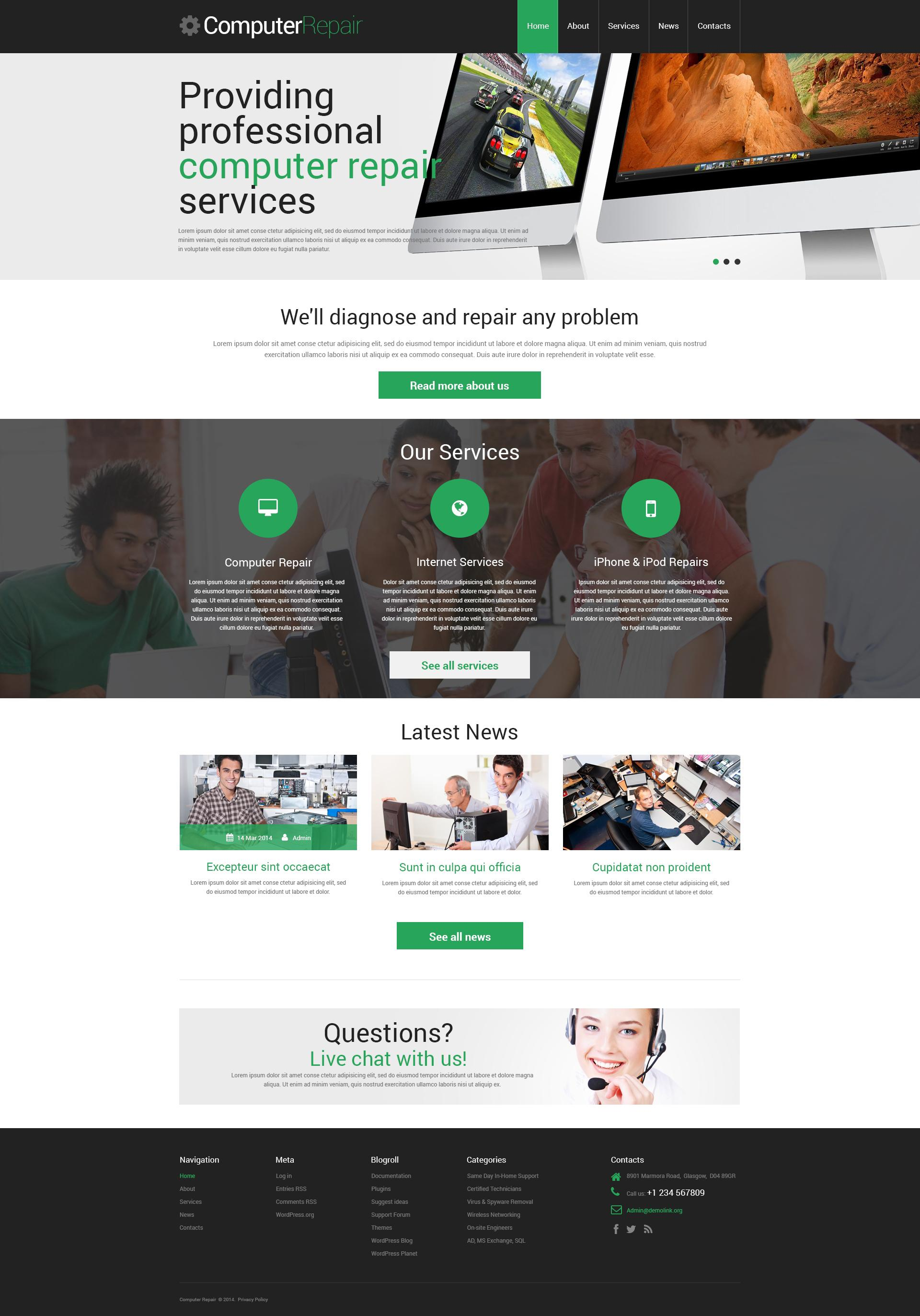 Free Computer Repair Website Template WordPress