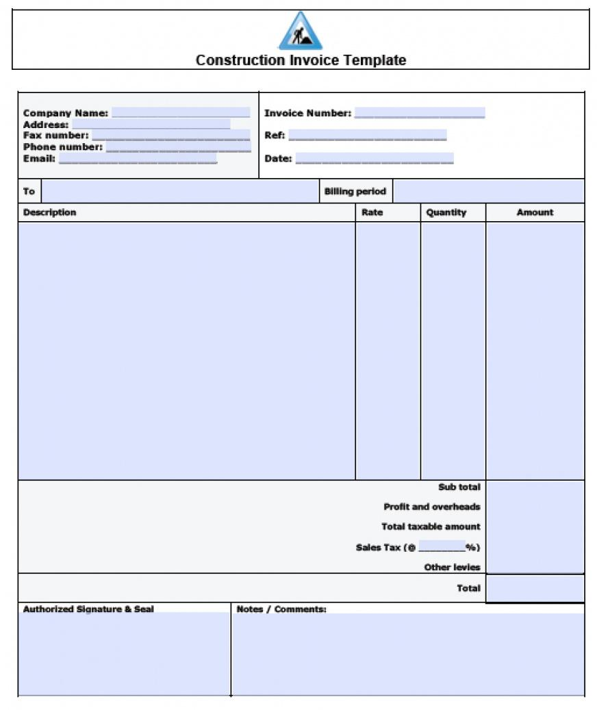 Free Construction Invoice Template Excel