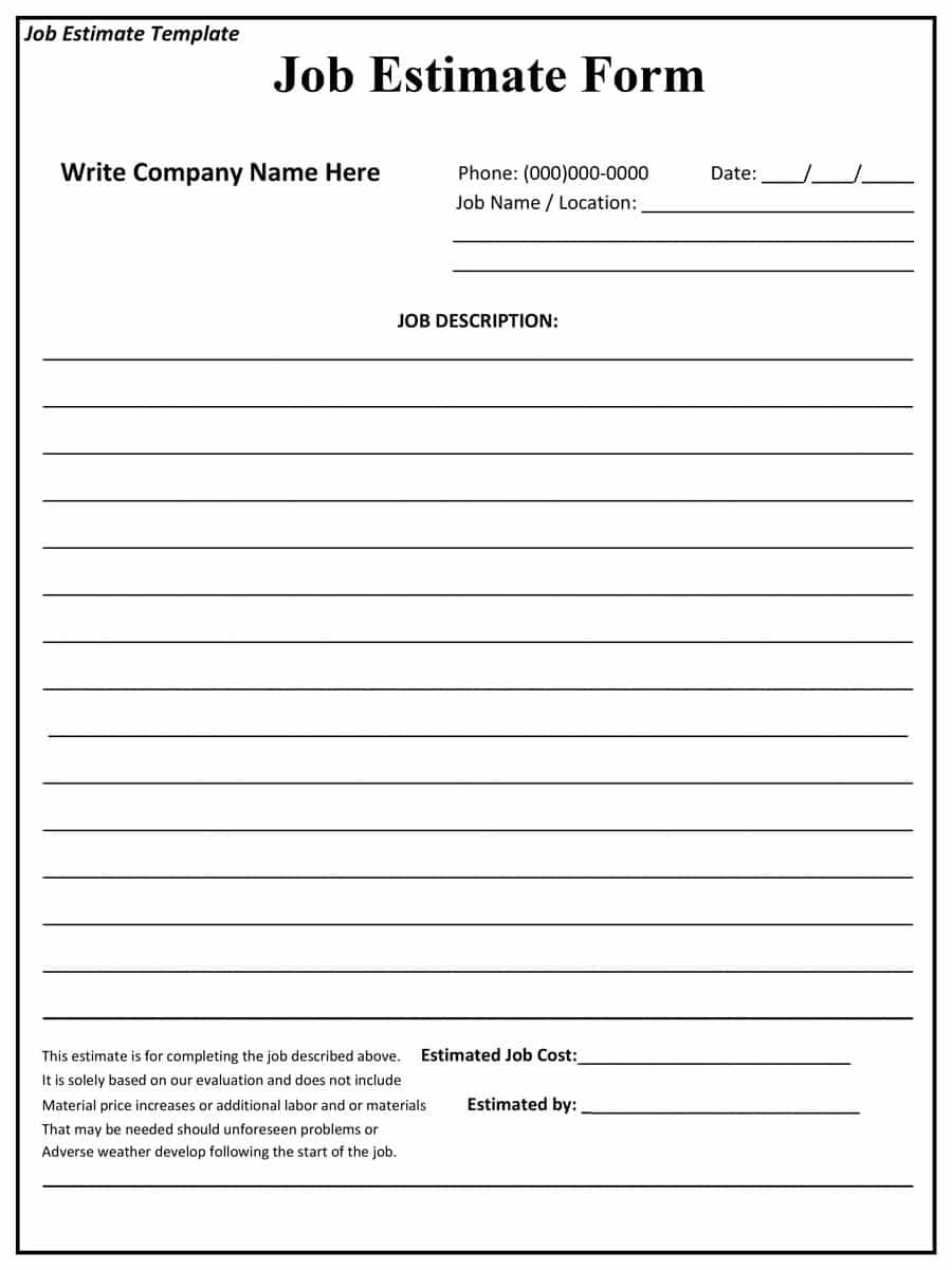 Free Construction Job Estimate Template